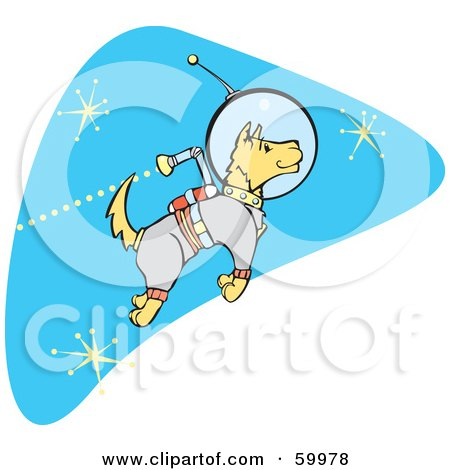 Royalty-Free (RF) Clipart Illustration of a Astronaut Space Dog Jetting Around In Space by xunantunich