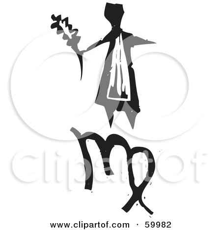 Royalty-Free (RF) Clipart Illustration of a Black And White Carved Virgo And Zodiac Symbol by xunantunich