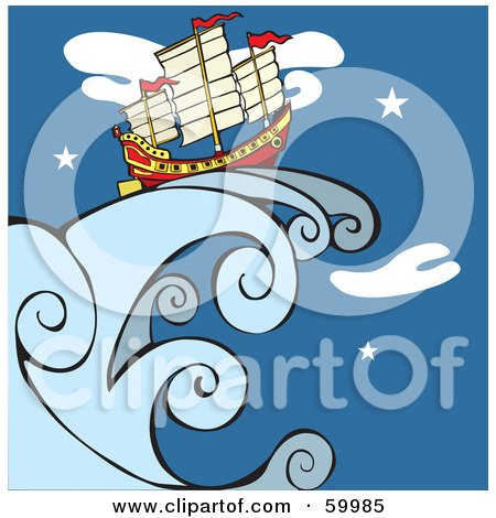 Royalty-Free (RF) Clipart Illustration of a Chinese Junk Ship On A Giant Wave Against A Night Sky by xunantunich