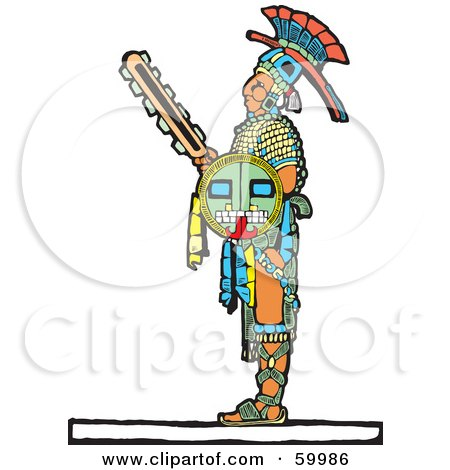 Royalty-Free (RF) Clipart Illustration of a Mayan Warrior Standing With A Shield And Sword by xunantunich