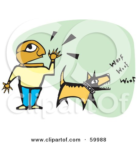 Royalty-Free (RF) Clipart Illustration of a Hispanic Boy Shouting And His Dog Barking by xunantunich