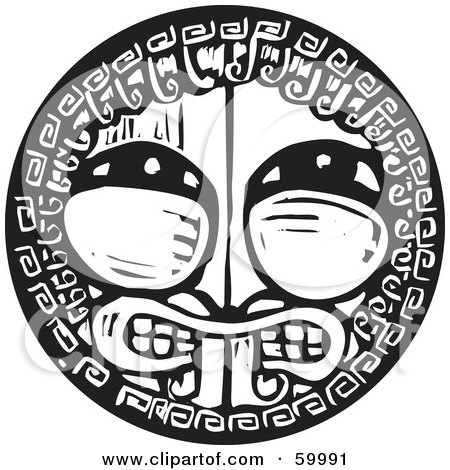 Royalty-Free (RF) Clipart Illustration of a Black And White Tribal Shield With A Face by xunantunich
