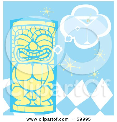 Royalty-Free (RF) Clipart Illustration of a Yellow Tiki Carving Thinking Of A Martini, Ona  Blue Checker Retro Background by xunantunich