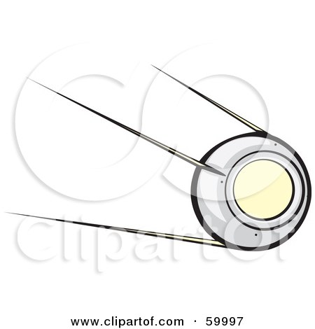 Royalty-Free (RF) Clipart Illustration of Sputnik Orbiting In Outer Space by xunantunich