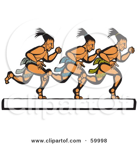 Royalty-Free (RF) Clipart Illustration of Three Mayan Men Running Over A White Text Box by xunantunich