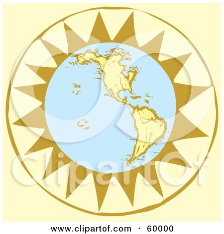 Royalty-Free (RF) Clipart Illustration of a Retro Planet Earth In Front Of A Yellow Sun by xunantunich
