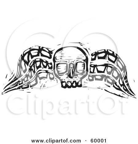 Royalty-Free (RF) Clipart Illustration of a Black And White Wood Carved Textured Winged Skull by xunantunich