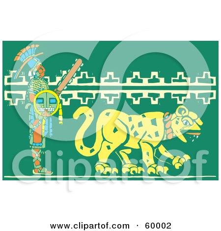 Mayan Warrior Walking Behind A Jaguar Posters, Art Prints