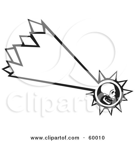Royalty-Free (RF) Clipart Illustration of a Black And White Shooting Human Skull - Version 2 by xunantunich