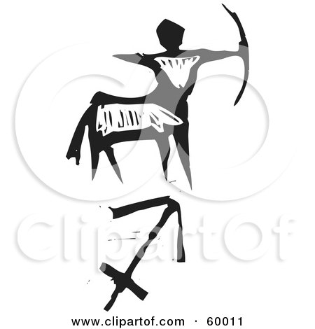 Royalty-Free (RF) Clipart Illustration of a Black And White Carved Sagittarius And Zodiac Symbol by xunantunich