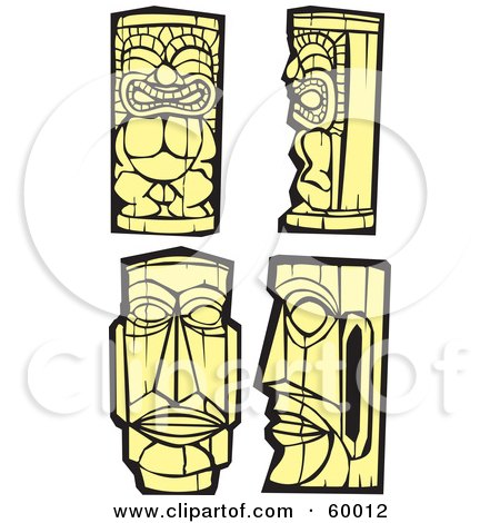 Royalty-Free (RF) Clipart Illustration of a Digital Collage Of Four Yellow Tiki Carvings by xunantunich