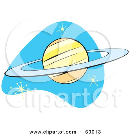 Royalty-Free (RF) Clipart Illustration of a Retro Planet Saturn On Blue With Stars by xunantunich