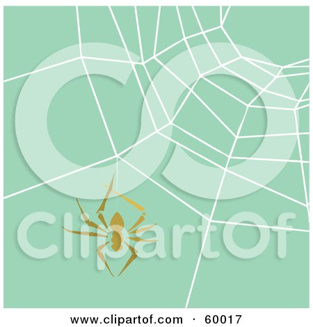 Royalty-Free (RF) Clipart Illustration of a Brown Spider Hanging In Front Of A Spiderweb Over Green by xunantunich