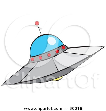 Royalty-Free (RF) Clipart Illustration of a Metal Alien UFO Saucer by xunantunich