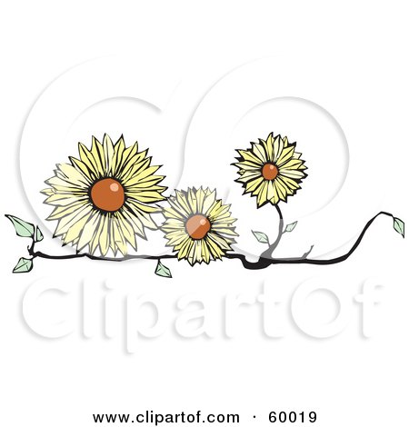 Royalty-Free (RF) Clipart Illustration of Three Yellow Flowers On A Branch by xunantunich