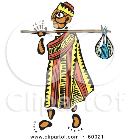 Royalty-Free (RF) Clipart Illustration of a Tribal Man Wanderer Carrying A Sack On A Stick by xunantunich