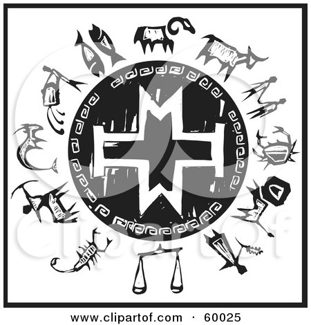 Royalty-Free (RF) Clipart Illustration of a Black And White Wheel Of The Zodiac With A Cross Shield by xunantunich