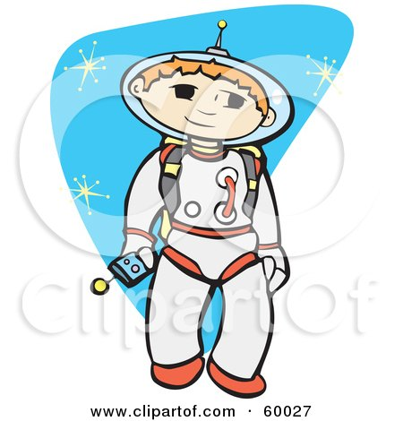 Royalty-Free (RF) Clipart Illustration of a Space Boy Exploring The Universe by xunantunich