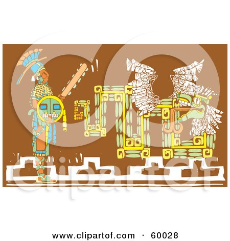 Mayan Warrior With A Shield And Sword, Standing By A Brown Mural Posters, Art Prints