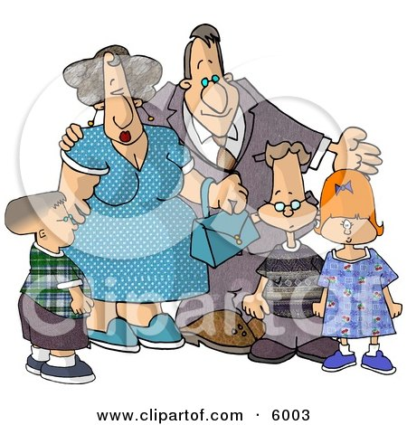 Grandparents Standing with Their Grandchildren Clipart Picture by djart