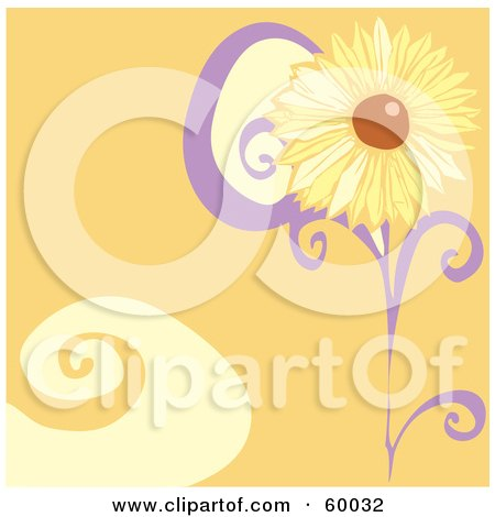 Royalty-Free (RF) Clipart Illustration of a Yellow Daisy Flower On An Orange Swirl Background by xunantunich