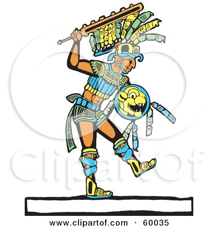 Royalty-Free (RF) Clipart Illustration of a Mayan Warrior Walking With A Shield And Sword by xunantunich