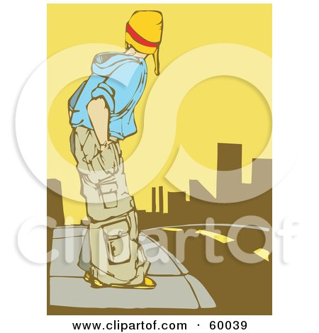 Royalty-Free (RF) Clipart Illustration of a Teenager In Baggy Clothes, Standing On A Sidewalk And Preparing To Cross A Street by xunantunich