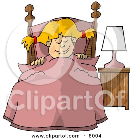 Young Girl Sleeping Peacefully in Her Bedroom Clipart Picture by djart
