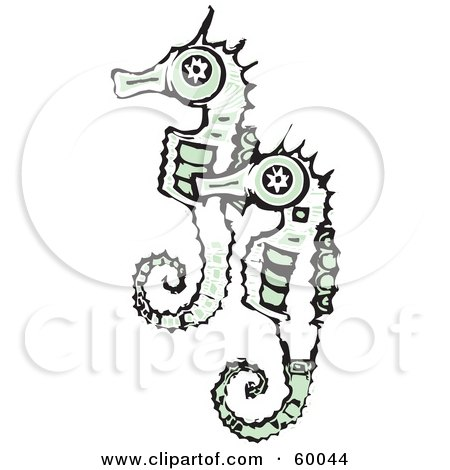 Royalty-Free (RF) Clipart Illustration of a Black And White Seahorse Pair With Green Accents by xunantunich