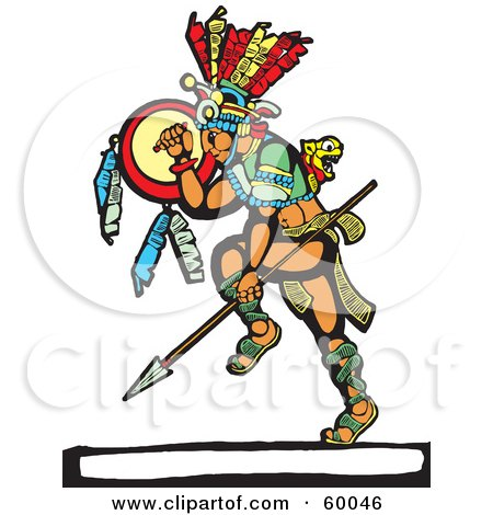 Royalty-Free (RF) Clipart Illustration of a Dancing Mayan Warrior With A Shield And Spear by xunantunich
