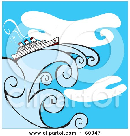 Royalty-Free (RF) Clipart Illustration of a Cruise Ship On A Giant Wave In Front Of A Blue Sky by xunantunich