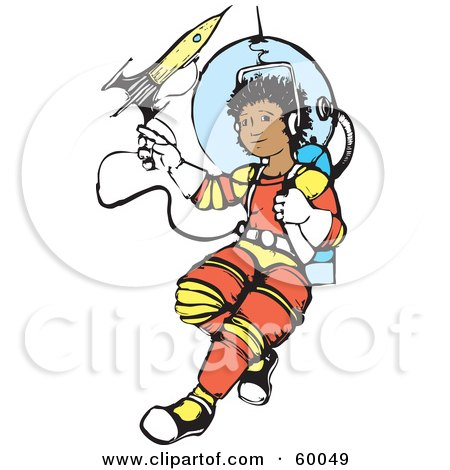 Royalty-Free (RF) Clipart Illustration of a Hispanic Space Boy Floating Out On A Line by xunantunich