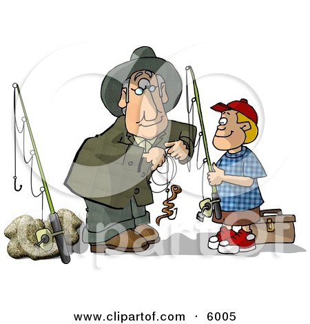 Grandpa Baiting Grandson's Fishing Hook Clipart Picture by djart