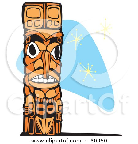 Royalty-Free (RF) Clipart Illustration of a Carved Wooden Totem Pole On A Blue Retro Star Background by xunantunich