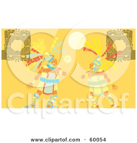 Royalty-Free (RF) Clipart Illustration of Two Mayan Men Playing A Ball Game by xunantunich