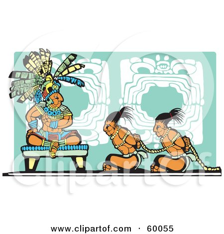 Royalty-Free (RF) Clipart Illustration of Slaves Sitting Before A Mayan King by xunantunich