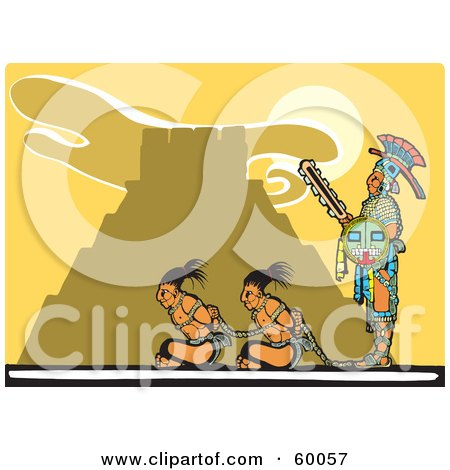 Royalty-Free (RF) Clipart Illustration of a Mayan Guard Watching Over Two Mayan Prisoners by xunantunich