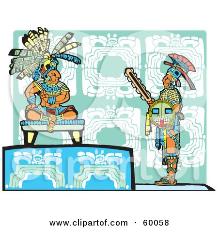Royalty-Free (RF) Clipart Illustration of a Warrior Standing Before A Mayan King by xunantunich