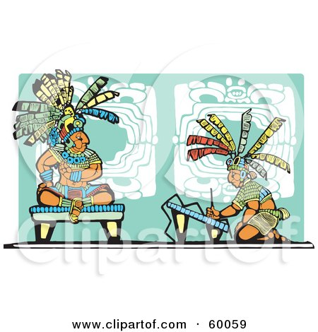 Royalty-Free (RF) Clipart Illustration of an Artist Kneeling Before A Mayan King by xunantunich