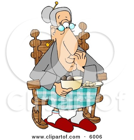 Grandma Eating Food in Her Rocking Chair Clipart Picture by djart