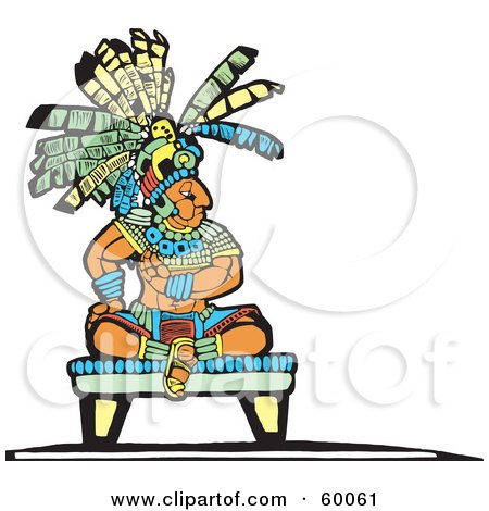 Royalty-Free (RF) Clipart Illustration of a Mayan King Seated On A Platform by xunantunich