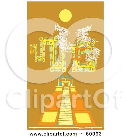 Mayan Design Over A Pyramid Under The Sun, On Orange Posters, Art Prints