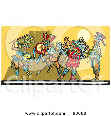 Royalty-Free (RF) Clipart Illustration of Mayan Warriors Engaged In A Battle by xunantunich