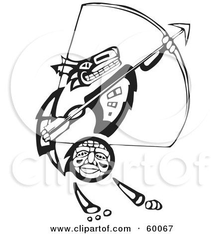 Royalty-Free (RF) Clipart Illustration of a Black And White Tribal Coyote Archer by xunantunich