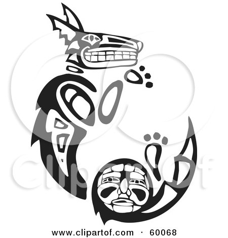 Royalty-Free (RF) Clipart Illustration of a Black And White Tribal Coyote Curving by xunantunich