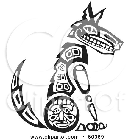 Royalty-Free (RF) Clipart Illustration of a Black And White Tribal Coyote Sitting Upright by xunantunich
