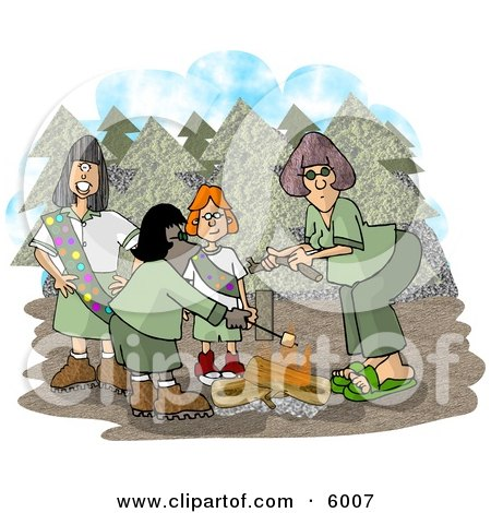 Girlscouts Standing Beside a Campfire in the Forest Clipart Picture by djart