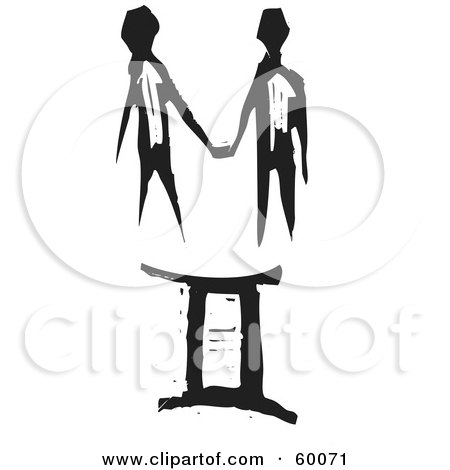 Royalty-Free (RF) Clipart Illustration of a Black And White Carved Gemini And Zodiac Symbol by xunantunich