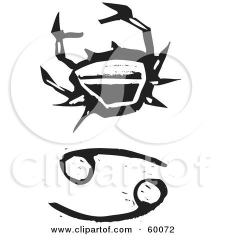 Royalty-Free (RF) Clipart Illustration of a Black And White Carved Cancer And Zodiac Symbol by xunantunich
