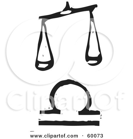 Royalty-Free (RF) Clipart Illustration of a Black And White Carved Libra And Zodiac Symbol by xunantunich